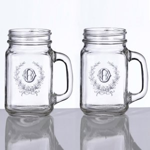Wedding Mason Jar Mugs (Set of 2 - 2 Personalized Designs) image