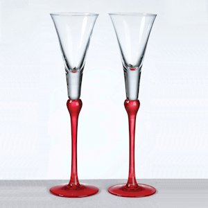 Red Stem Tall Toasting Flutes image