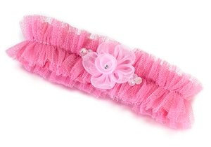 Tulle Garter with Flower-Pink image