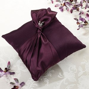 Plum Satin Purple Ring Bearer Pillow image