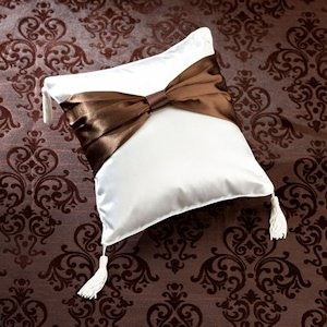 Brown Bow Ring Pillow image