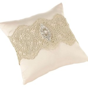 Vintage Gold Lace Ring Pillow image