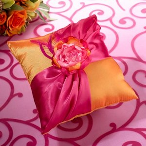 Hot Pink & Orange Ring Bearer Pillow image
