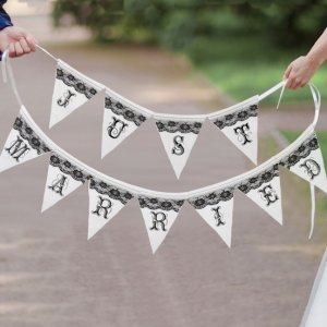 Just Married Black and White Banner image