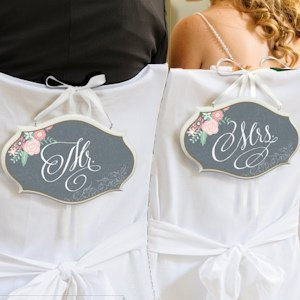 Shabby Chic Chalk Design Mr. or Mrs. Chair Sign image
