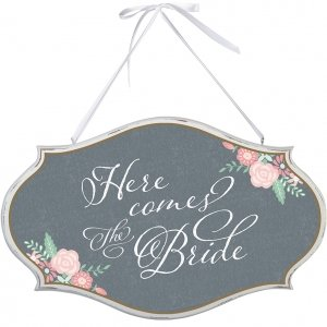 Shabby Chic Here Comes the Bride Oval Sign image