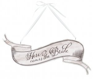 Here Comes the Bride White Banner Sign image