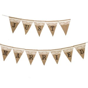 Just Married Burlap Banner image