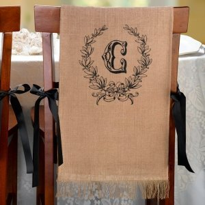 Burlap Chair Covers (Set of 2 - 5 Design Options) image