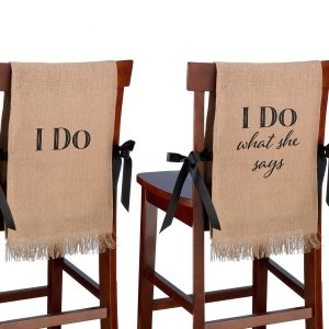 I Do Burlap Wedding Chair Covers image