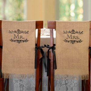 Mr. and Mrs. Burlap Chair Covers image