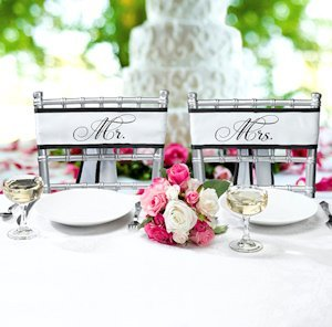 Mr and Mrs Wedding Chair Sashes image