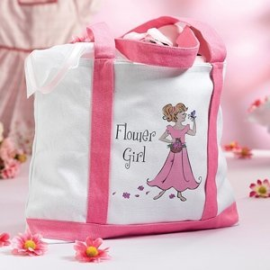 Large Flower Girl Canvas Tote image