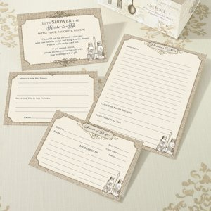 Tan Bridal Shower Recipe Cards (Set of 24) image