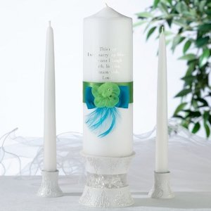 Vibrant Blue & Green Candle Set image