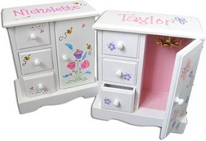 Personalized White Musical Jewelry Armoire image
