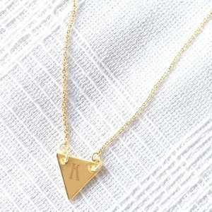 Personalized Triangle Pendant Necklace - Silver or Gold image