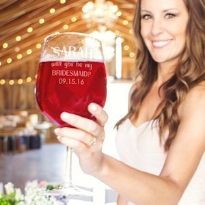 Custom Will You Be My Bridesmaid? XL Wine Glass (3 Designs) image
