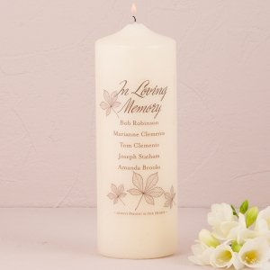 Personalized In Loving Memory Candle (Autumn Leaf) image