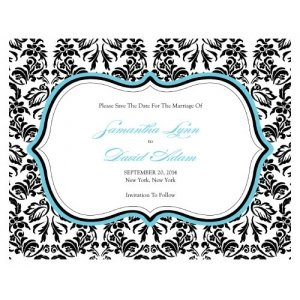 Love Bird Damask Save the Date Cards (18 Colors) image