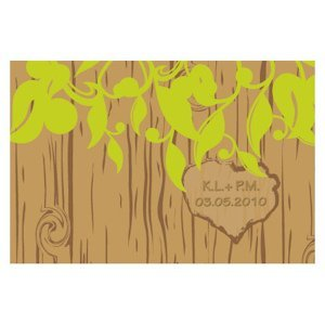 Carved Initials Tree Design Large Rectangular Tag image