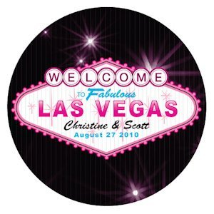 Personalized Las Vegas Round Stickers (2 Sizes - 3 Colors) image