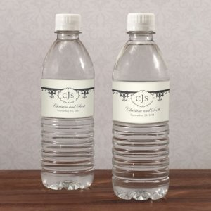 Fleur De Lis Water Bottle Wedding Labels (Set of 10) image