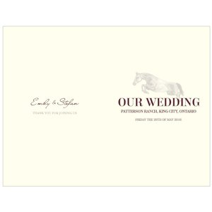 Equestrian Love Wedding Program Papers (4 Colors) image