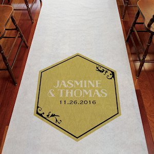 Black and Gold Opulence Aisle Runner for Wedding Ceremony image