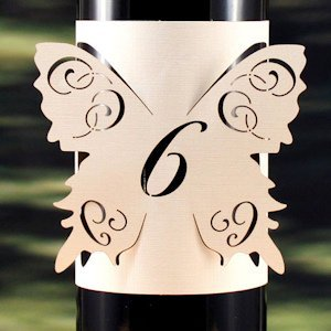 Laser Expressions Butterfly Table Number Bottle Wrap image
