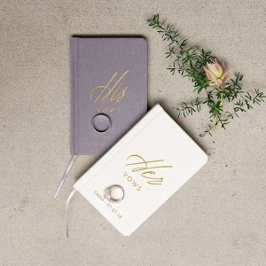 His or Her Vows Personalized Linen Pocket Journal image