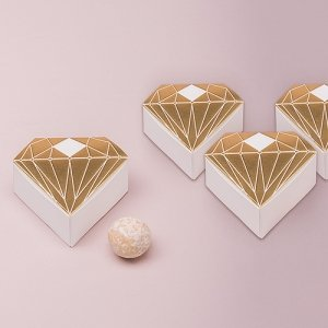 Metallic Diamond Favor Box - Silver or Gold (Set of 10) image
