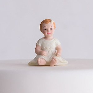 Baby Girl Porcelain Figurine Family Wedding Cake Topper image