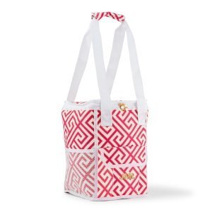 Personalized Pink & White Greek Key Design On-The-Go Cooler image