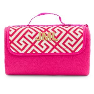Pink & White Greek Key Design Personalized On-The-Go Picnic image