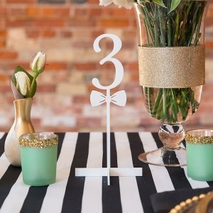 Bow Tie White Acrylic Table Number (Numbers 1 - 9) image
