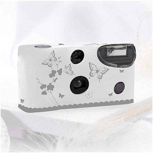 White and Silver Butterfly Throw Away Cameras for Weddings image
