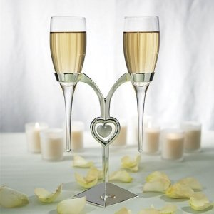 Stemless Champagne Glasses with Silver Plated Stand image