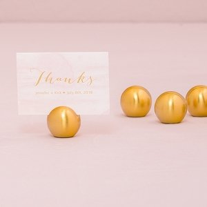 Classic Brushed Gold Round Place Card Holder (Set of 8) image