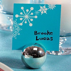 Round Silver Ball Place Card Holders (Set of 8) image