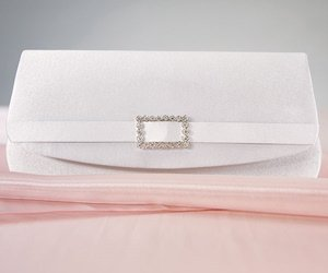 White Satin Crystal Buckle Evening Bag image
