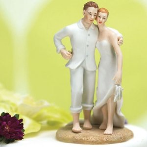 Barefoot Couple Beach Wedding Cake Topper image