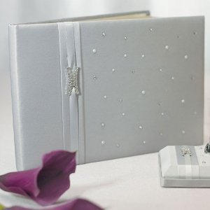 Platinum and Pearls Silver Wedding Guest Book image