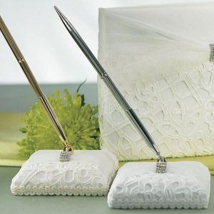 Embroidered Bridal Tapestry Wrapped Pen Set image
