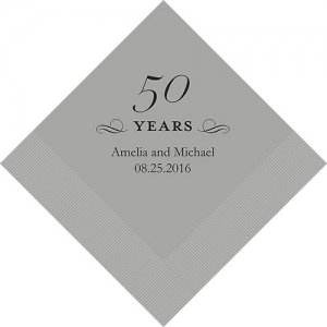 Personalized 50th Anniversary Napkins (25 Colors) image
