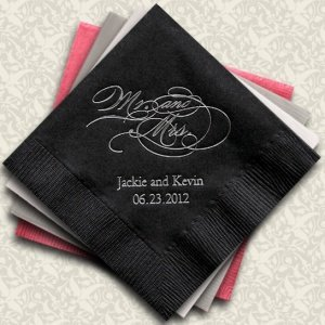 Script Mr. and Mrs. Personalized Napkins (25 Colors) image