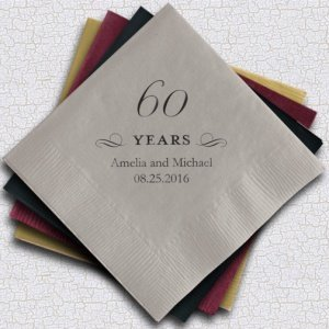 Personalized 60th Anniversary Napkins (25 Colors) image