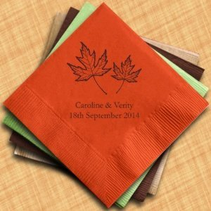 Fall Leaf Personalized Wedding Napkins (25 Colors) image