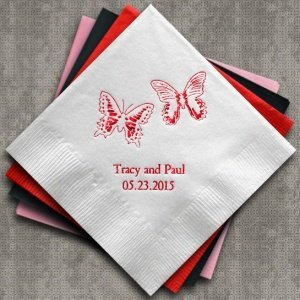 Beautiful Butterflies Personalized Napkins (25 Colors) image