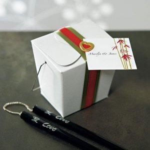 Handled Asian Wedding Favor Take Out Boxes (Set of 6) image